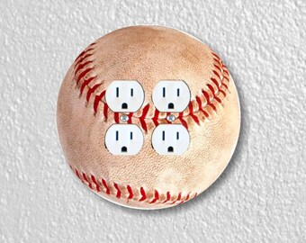 Baseball Ball Sport Round Double Duplex Outlet Plate Cover