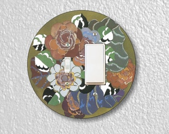 Floral Art Deco Art Nouveau Round Toggle and Decora Rocker Switch Plate Cover