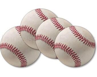 White Baseball Coasters - Set of 4