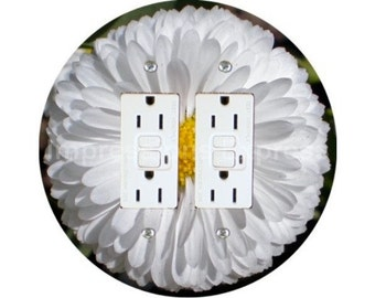 White Daisy Flower Double GFI Outlet Plate Cover