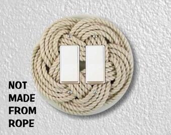 Turk's Head Knot Nautical Photo Round Decora Double Rocker Light Switch Plate Cover