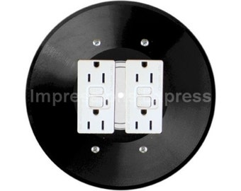 Vinyl Record Double GFI Outlet Plate Cover