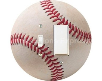 White Baseball Toggle and Decora Rocker Switch Plate Cover