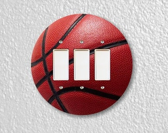 Burgundy Basketball Sport Round Triple Decora Rocker Switch Plate Cover