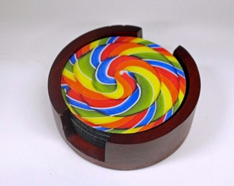 Giant Lollipop Coaster Set of 5 with Wood Holder