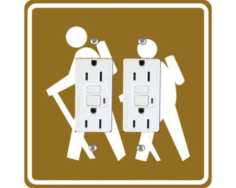 Hiking Road Sign Square Double Grounded GFI Outlet Plate Cover