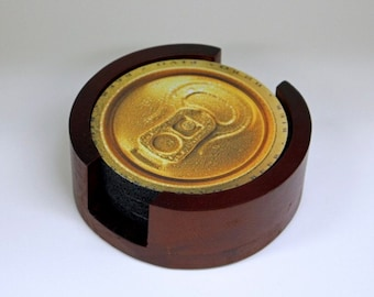 Beer Can Coaster Set of 5 with Wood Holder