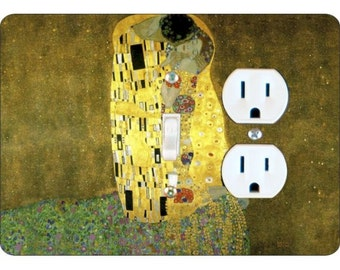 Klimt The Kiss Painting Toggle Switch and Duplex Outlet Double Plate Cover