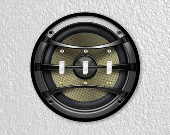 Audio Music Speaker Round Triple Toggle Switch Plate Cover