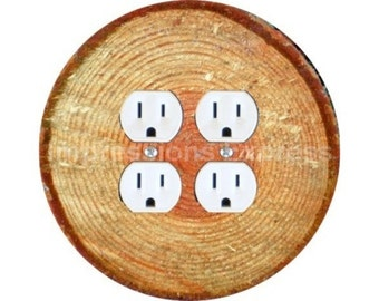 Tree Log Double Duplex Outlet Plate Cover