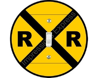 Railroad Crossing Sign Single Toggle Switch Plate Cover