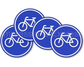 Blue Bicycle Bike Lane Sign Round Drinks Coasters - Set of Four