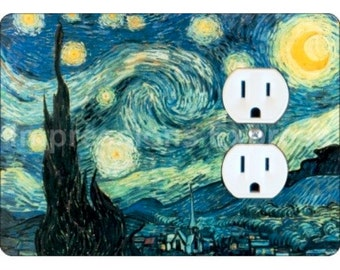 Starry Night Van Gogh Painting Duplex Outlet Plate Cover