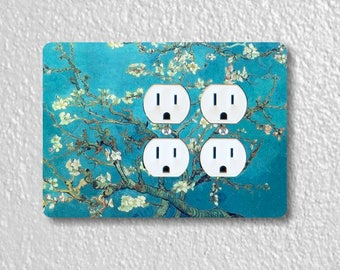 Almond Branches Van Gogh Painting Double Duplex Outlet Plate Cover