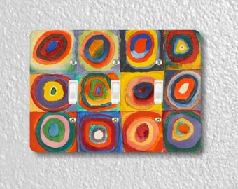 Kandinsky Squares With Concentric Circles Painting Triple Toggle Light Switch Plate Cover