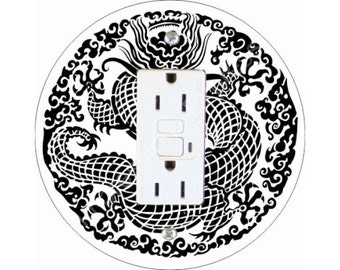 Oriental Dragon GFI Outlet Plate Cover