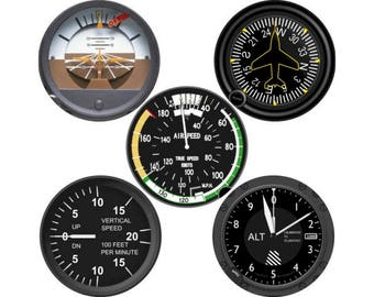 Altimeter Airspeed Direction Vertical Speed Indicator Aviation Round Coaster Set of 5