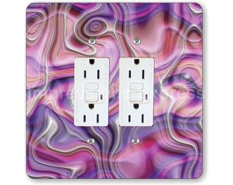Purple Silk Ripple Square Double Grounded GFI Outlet Plate Cover