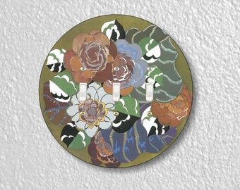 Floral Art Deco Art Nouveau Round Triple Toggle Switch Plate Cover