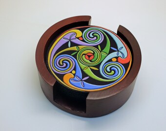 Celtic Triskelion Round Rubber Backed Fabric Coaster Set of 5 with Wood Holder