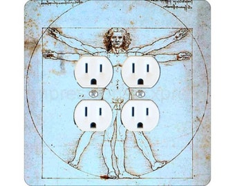 Vitruvian Man Da Vinci Drawing Square Double Duplex Outlet Plate Cover