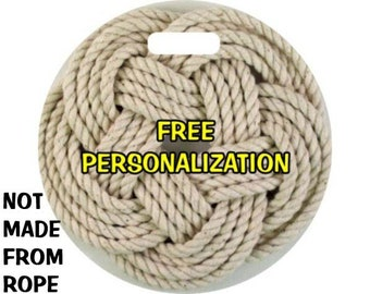 Turk's Head Knot Nautical Photo Round Personalized Luggage Bag Tag