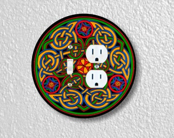 Celtic Knot Round Toggle Switch and Duplex Outlet Double Plate Cover