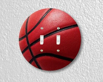 Burgundy Basketball Sport Round Double Toggle Switch Plate Cover