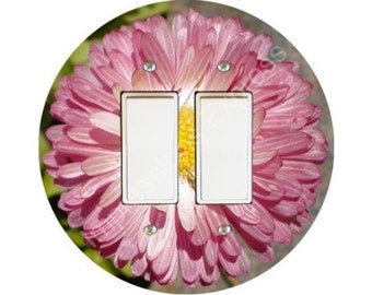 Pink Daisy Flower Decora Double Rocker Switch Plate Cover