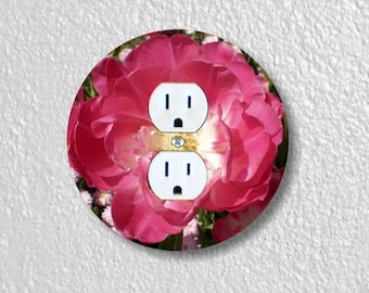 Double Tulip Flower Round Duplex Outlet Plate Cover