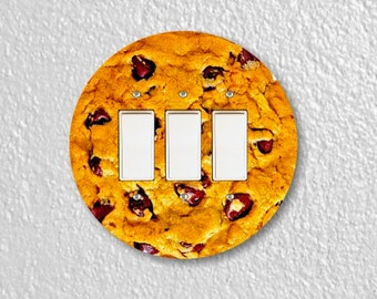 Chocolate Chip Cookie Round Triple Decora Rocker Switch Plate Cover