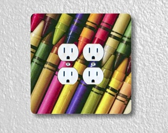 Colored Crayons Square Double Duplex Outlet Plate Cover