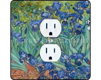 Vincent Van Gogh Irises Painting Square Duplex Outlet Plate Cover