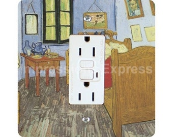 Vincent Van Gogh The Bedroom Painting Square GFI Outlet Plate Cover