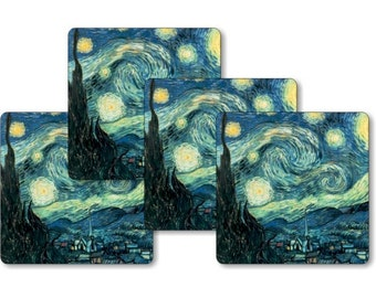 Vincent Van Gogh Starry Night Painting Square Coasters - Set of 4