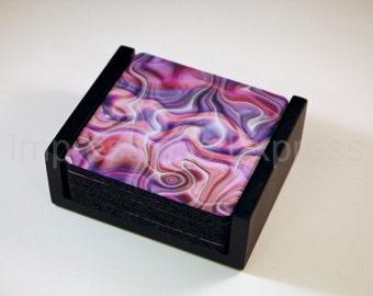Purple Silk Ripple Square Coaster Set of 5 with Wood Holder