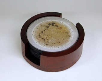 Beer Glass Coaster Set of 5 with Wood Holder