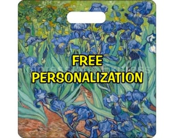 Vincent Van Gogh Irises Painting Personalized Square Luggage Bag Tag