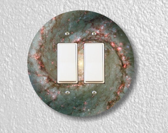 Whirlpool Galaxy Space Round Decora Double Rocker Light Switch Plate Cover