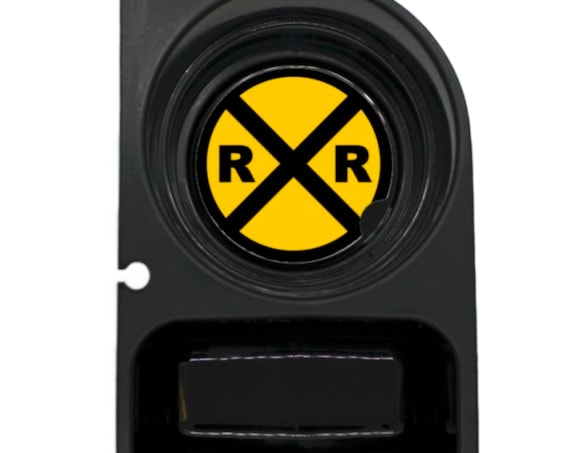 Railroad Crossing Sign Round Sandstone Car Cupholder Coaster