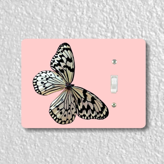 White Nymph Butterfly Pink Precision Laser Cut Toggle and Decora Rocker Light Switch Wall Plate Covers