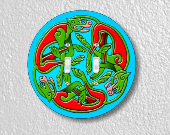 Celtic Dragon Round Double Toggle Light Switch Plate Cover