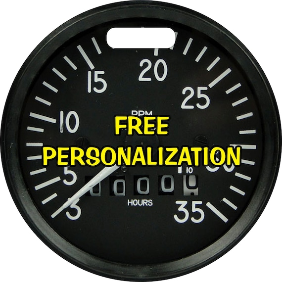 Tachometer Aviation Round Personalized Luggage Bag Tag