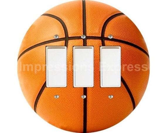 Orange Basketball Triple Decora Rocker Switch Plate Cover