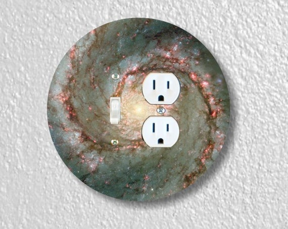 Whirlpool Galaxy Space - Precision Laser Cut Round Toggle Switch and Duplex Outlet Double Plate Cover - Home Decor - Wall Plate