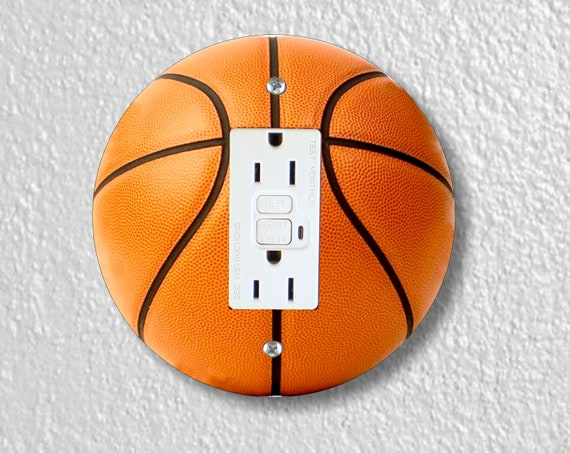 Burnt Orange Basketball Round GFI Grounded Outlet Plate Cover