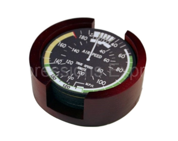 Altimeter Thrust Altitude Direction EGT Aviation Coaster Set of 5 with Wood Holder