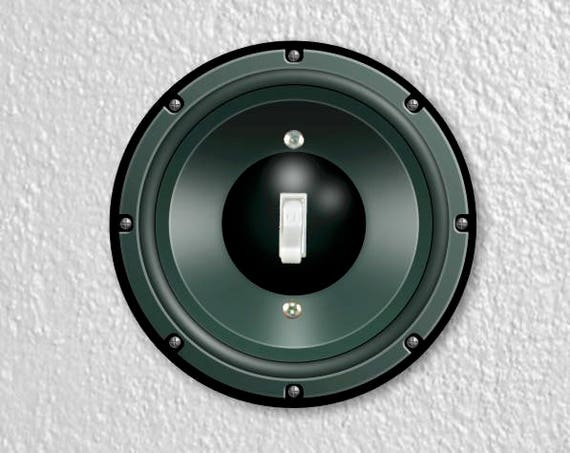 Black Music Loudspeaker Round Single Toggle Switch Plate Cover