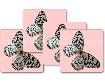 White Nymph Butterfly Pink Square Coasters - Set of 4