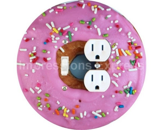 Pink Doughnut Toggle Switch and Duplex Outlet Double Plate Cover